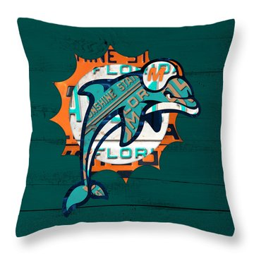 Miami Dolphins Football Team Retro Logo Florida License Plate Art Throw Pillow by Design Turnpike