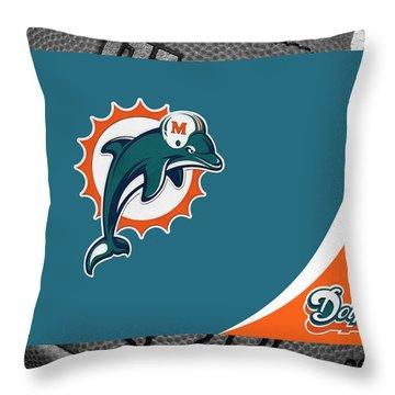 Miami Dolphins Throw Pillow by Joe Hamilton