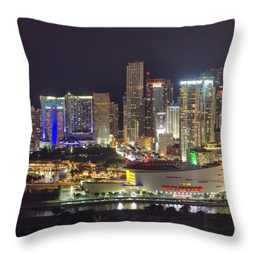 Miami Downtown Skyline American Airlines Arena Throw Pillow