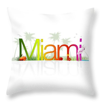 Miami- Florida Throw Pillow by Aged Pixel