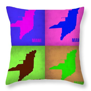 Miami Pop Art Map 1 Throw Pillow by Naxart Studio