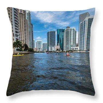 Miami River Kayakers Throw Pillow by Jonathan Gewirtz