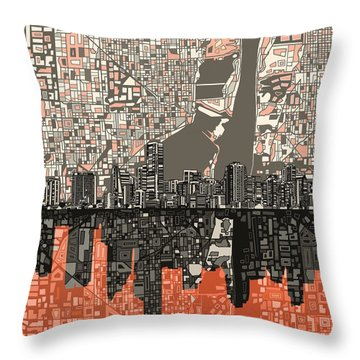 Miami Skyline Abstract 2 Throw Pillow
