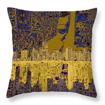 Miami Skyline Abstract 3 Throw Pillow