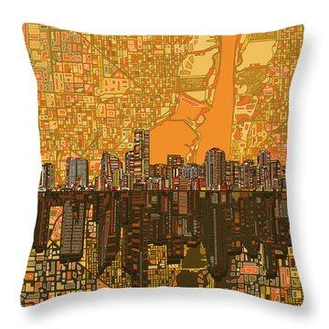 Miami Skyline Abstract 5 Throw Pillow