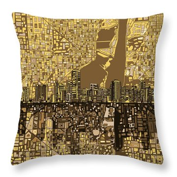 Miami Skyline Abstract 6 Throw Pillow