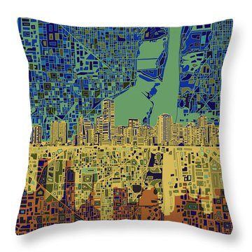 Miami Skyline Abstract 7 Throw Pillow