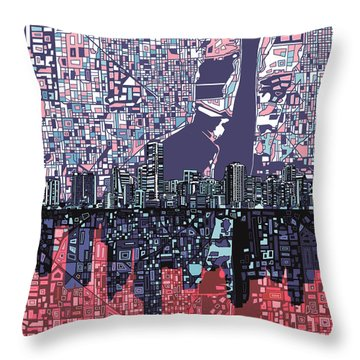 Miami Skyline Abstract Throw Pillow