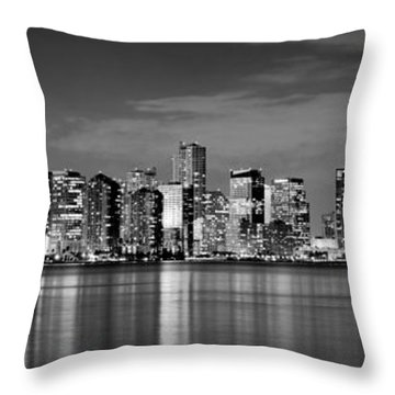 Miami Skyline At Dusk Black And White Bw Panorama Throw Pillow