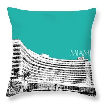 Miami Skyline Fontainebleau Hotel - Teal Throw Pillow by DB Artist