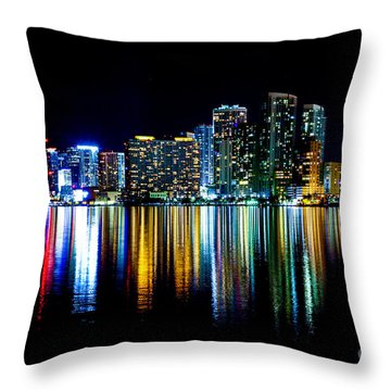 Miami Skyline High Res Throw Pillow by Rene Triay Photography