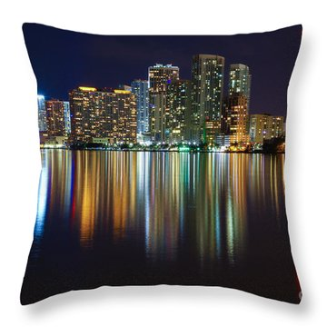 Miami Skyline IIi High Res Throw Pillow by Rene Triay Photography
