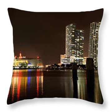Miami - Skyline Panorama Throw Pillow by Brendan Reals
