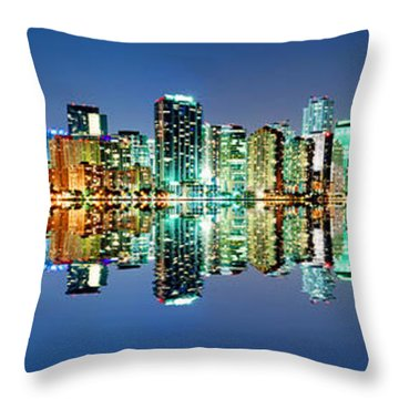 Miami Skyline Panorama Throw Pillow by Carsten Reisinger