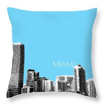 Miami Skyline - Sky Blue Throw Pillow by DB Artist