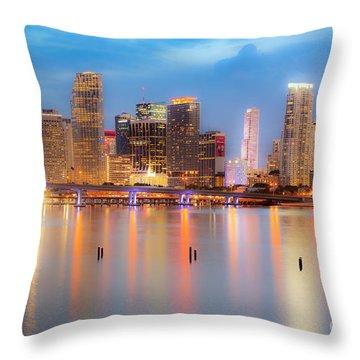 Miami Skyline On A Still Night- Soft Focus  Throw Pillow