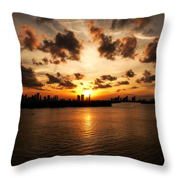 Throw Pillow featuring the photograph Miami Skyline Sunset by Gary Dean Mercer Clark