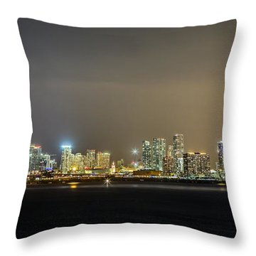 Miami Skyline View II Throw Pillow