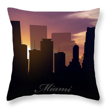 Miami Sunset Throw Pillow by Aged Pixel