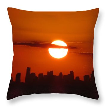 Throw Pillow featuring the photograph Miami Sunset by Jennifer Wheatley Wolf