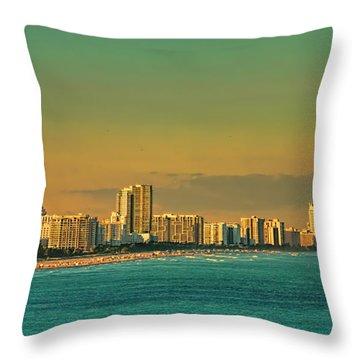 Miami Sunset Throw Pillow by Olga Hamilton