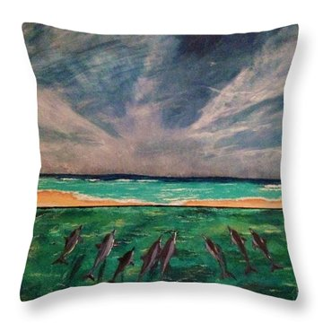 Throw Pillow featuring the painting Delfin by Vanessa Palomino