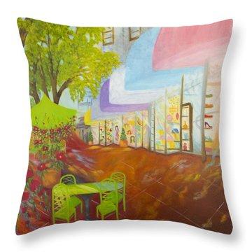 Miami's Coconut Grove Shops Throw Pillow by Douglas Ann Slusher
