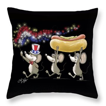 Mic Mac And Moe's 4th Of July Night Picnic Throw Pillow