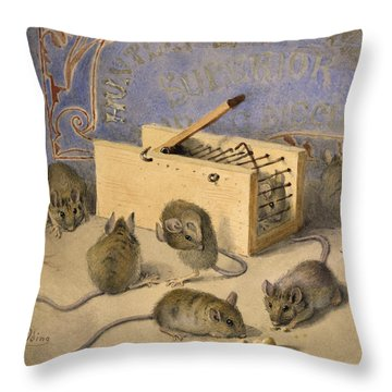Mice And Huntley Palmers Superior Biscuits Throw Pillow by Agnes Louise Holding