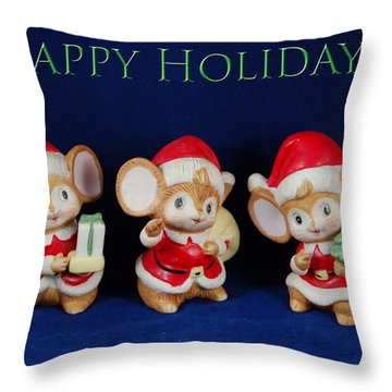 Mice Holiday Throw Pillow