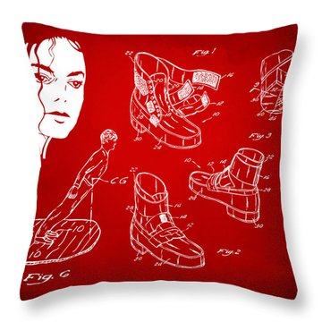 Michael Jackson Anti-gravity Shoe Patent Artwork Red Throw Pillow by Nikki Marie Smith