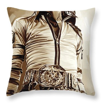 Michael Jackson Artwork 2 Throw Pillow by Sheraz A