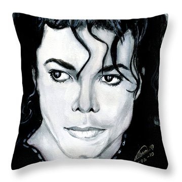 Michael Jackson Portrait Throw Pillow by Alban Dizdari