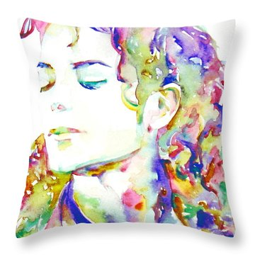 Michael Jackson - Watercolor Portrait.6 Throw Pillow by Fabrizio Cassetta