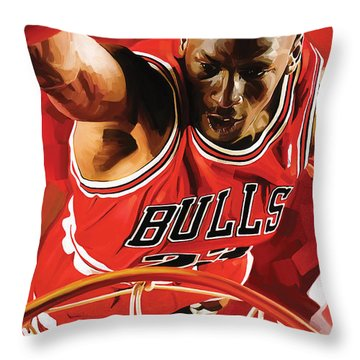 Michael Jordan Artwork 3 Throw Pillow by Sheraz A
