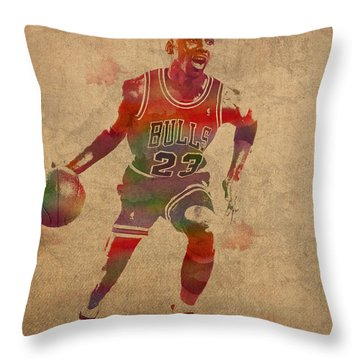 Michael Jordan Chicago Bulls Vintage Basketball Player Watercolor Portrait On Worn Distressed Canvas Throw Pillow by Design Turnpike