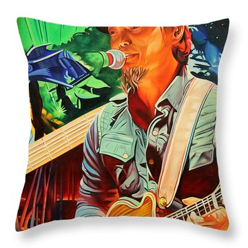 Throw Pillow featuring the painting Michael Kang At Horning's Hideout by Joshua Morton