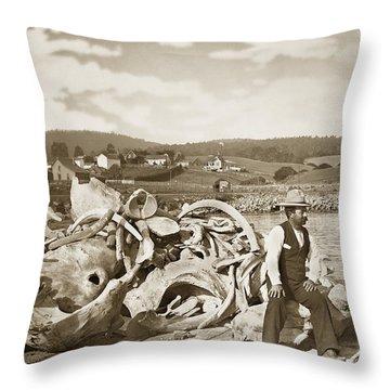 Michael Noon Sitting On A  Pile Of Whale Bones Monterey Wharf  Circa 1896 Throw Pillow