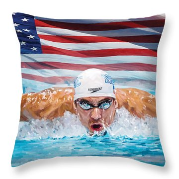 Michael Phelps Artwork Throw Pillow by Sheraz A