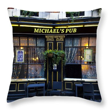 Michaels''s Pub Throw Pillow by David Pyatt