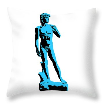 Michelangelos David - Stencil Style Throw Pillow by Pixel Chimp