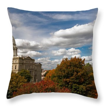 Throw Pillow featuring the photograph Michgan Capitol - Autumn by Larry Carr