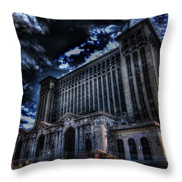Michigan Central Station Hdr Throw Pillow