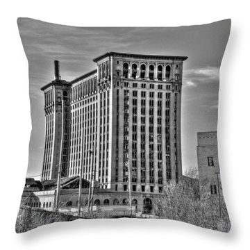 Michigan Central Station Throw Pillow
