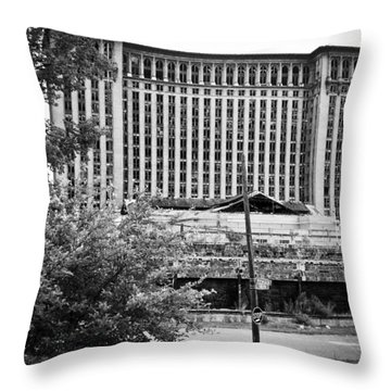 Michigan Central Station Throw Pillow by Priya Ghose