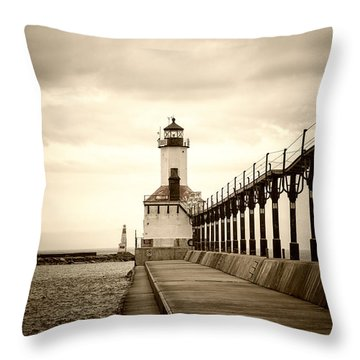 Michigan City Lighthouse Throw Pillow