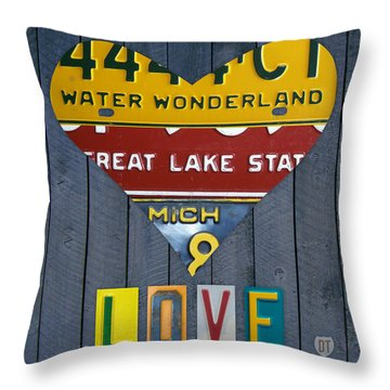 Michigan Love Heart License Plate Art Series On Wood Boards Throw Pillow By Design Turnpike