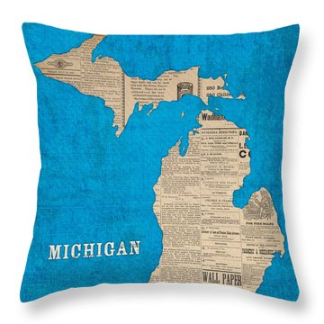 Michigan Map Made Of Vintage Newspaper Clippings On Blue Canvas Throw Pillow