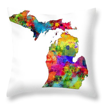 Michigan Map Throw Pillow