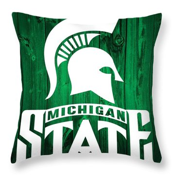 Michigan State Barn Door Throw Pillow by Dan Sproul